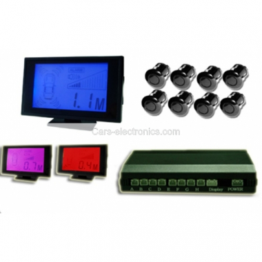 Wireless Parking Sensor 3 Color Back lit LCD(Blue-Purple-Red) with 8 Sensors