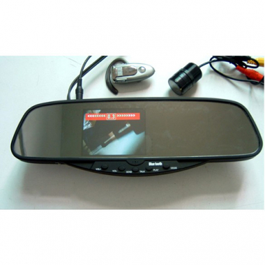 Bluetooth Mirror 3.5 Inch TFT Rearview Handsfree Mirror Monitor Camera Wireless Earpiece