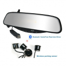 Bluetooth Rearview Mirror Handsfree with Parking Sensors LED Lights