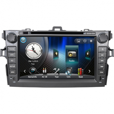 Double DIN Toyota Corolla DVD Player with GPS Navigation Built-in IPOD TV Bluetooth 7 Inch Digital Screen