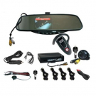 Bluetooth Car Kit with 3.5 Inch TFT LCD Handsfree Rearview Mirror Monitor Parking Sensors Camera Wireless Earpiece