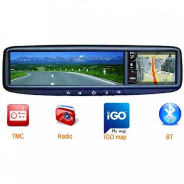 3.5 Inch GPS Rear View Mirror with Navigation Bluetooth FM 2GB NAND Flash AV-IN GPS-935