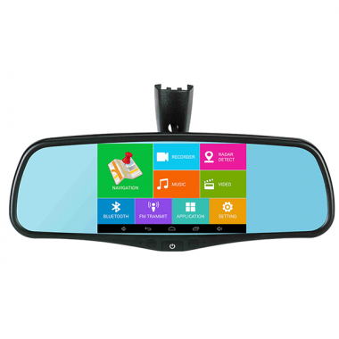 "GPS Mirror Quad-Core Android 5"" HD GPS Rearview Mirror Rear View Camera DVR WiFi Bluetooth"